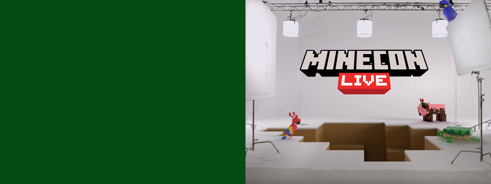 MINECON Live logo with Minecraft characters.