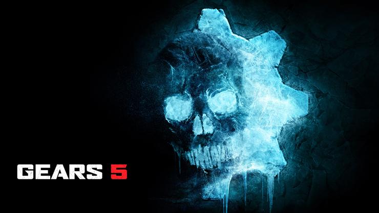 Gears 5 logo with skull.