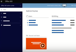 Office 365 admin center page, learn about the new Office 365 admin center preview