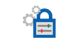 A large lock icon with smaller gear icons beside it, learn about the Yammer collaboration platform tools