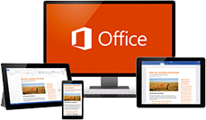 A tablet, phone, desktop monitor, and laptop screen showing Office 365 in use.