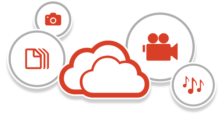 Icons representing documents, photos, video, and music being stored in the cloud with Office 365