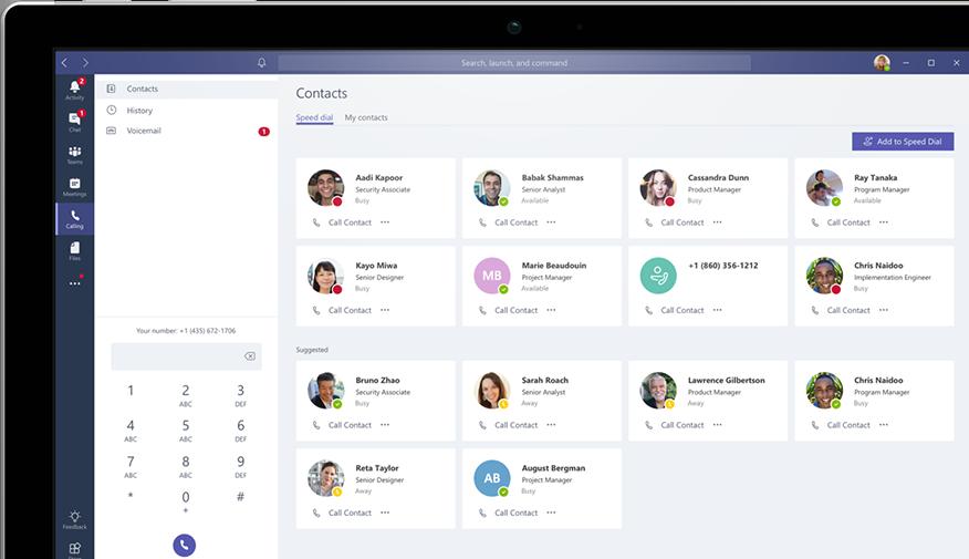 Calling In Microsoft Teams Shown On A Desktop Computer