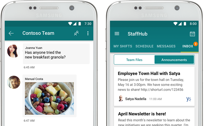 a mobile phone that shows a StaffHub chat next to a mobile phone that shows a corporate announcement in StaffHub