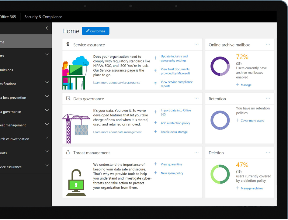 Security and Compliance Center dashboard