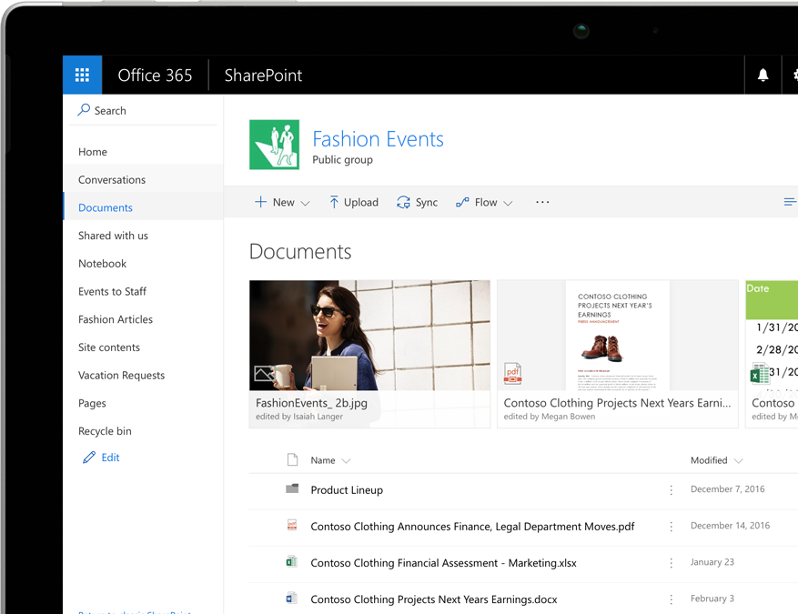 A SharePoint document library with filters