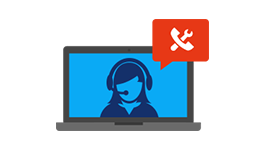 Laptop icon with a support person on the screen, learn about Office 365 support resources