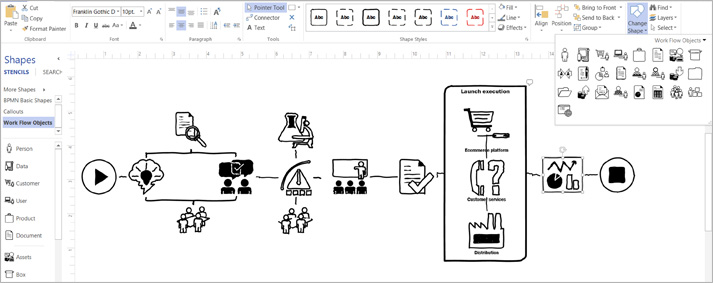 Close-up of a Visio diagram showing the ribbon and tools to customize your design.
