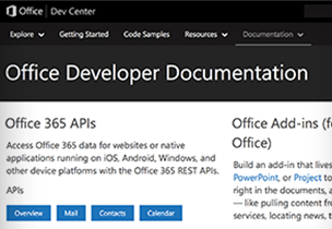 Office Developer Documentation page from the Dev Center, learn about Office Developer Documentation