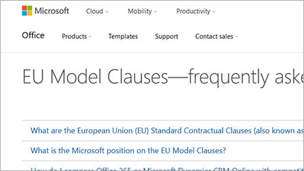 EU Model Clauses FAQ page, read frequently asked questions about complying with EU Model Clauses