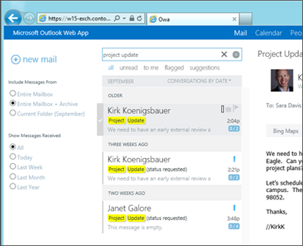 Close-up of a user's inbox in Outlook Web App.