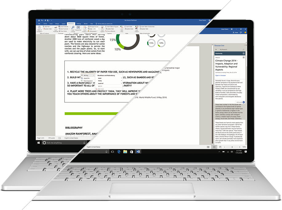 Laptop with split screen showing Word Editor on the left side and Word Researcher on the right side