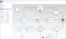Screenshot of a Visio Professional 2013 diagram showing BPMN 2.0 validation rules.
