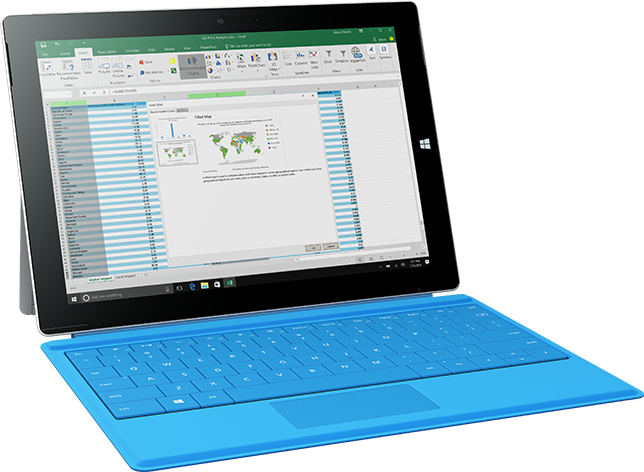 Surface tablet displaying maps in Excel, learn about creating maps in Excel