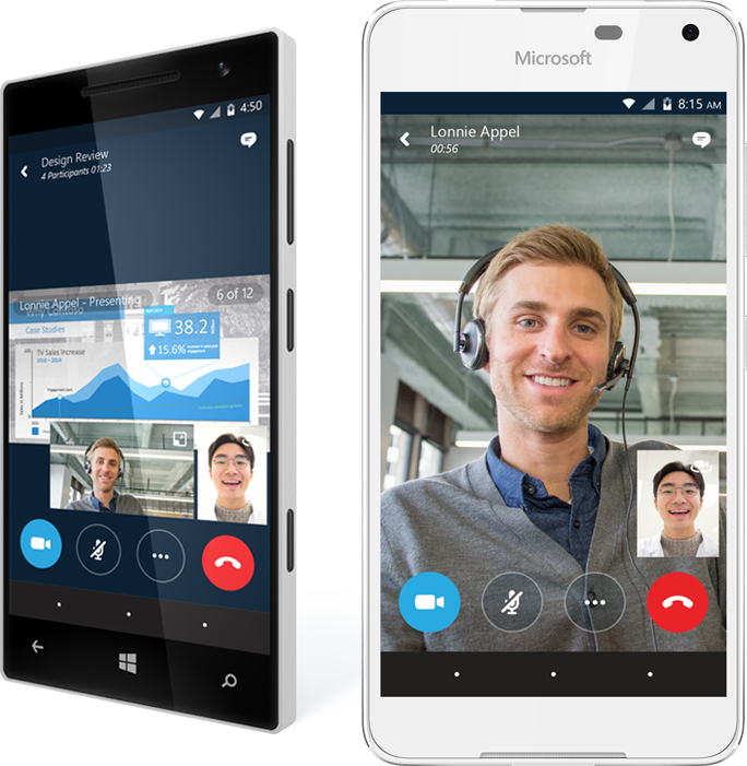 Two smartphones showing the participants in an online meeting with Office 365, get the eBook about why businesses are moving to the cloud by completing the form on the registration page