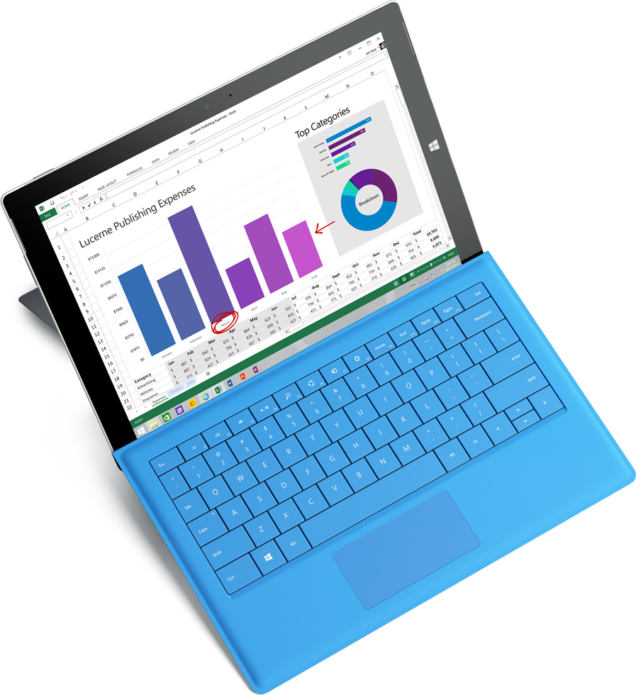 Microsoft Surface tablet displaying an expense report in Excel, get the Forrester report about lowering risks and costs with Office 365 by completing the form on the registration page