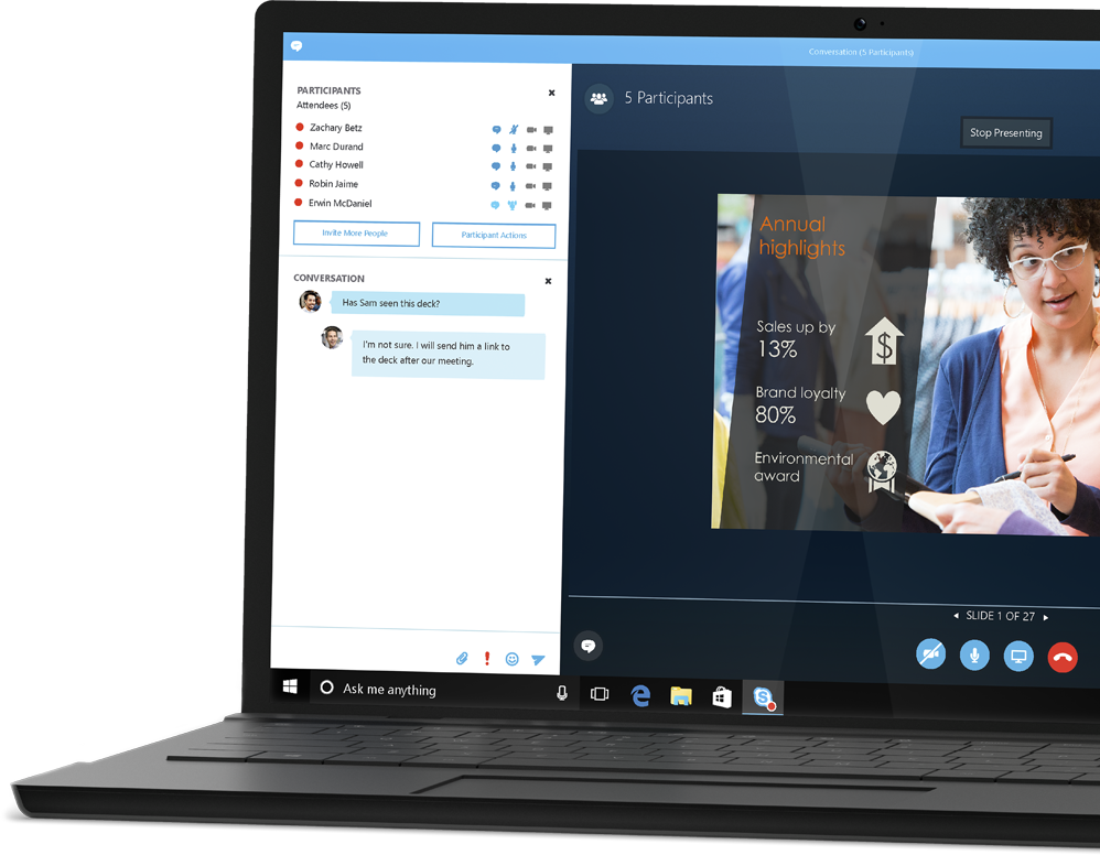 A laptop showing the video conferencing feature of Skype for Business, get the free Forrester report about how businesses save with Office 365