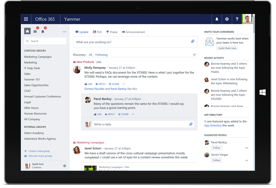 Yammer enterprise social network microsoft office 365 - Activate yammer office 365 ...