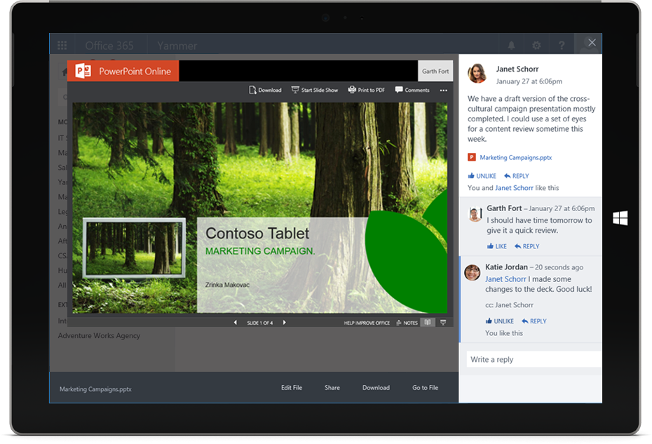 A PowerPoint document, shared and displayed within a Yammer conversation on a Surface tablet