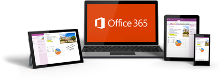 A laptop showing the Office 365 logo, and two tablets and a phone showing Office 365 in use.