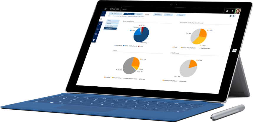 A Surface tablet displaying reporting features within Office 365 Compliance Solutions