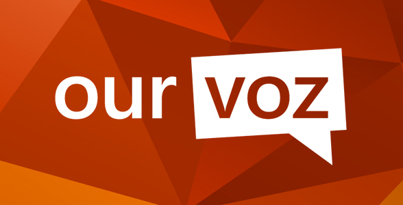 Our voz logo with orange background.