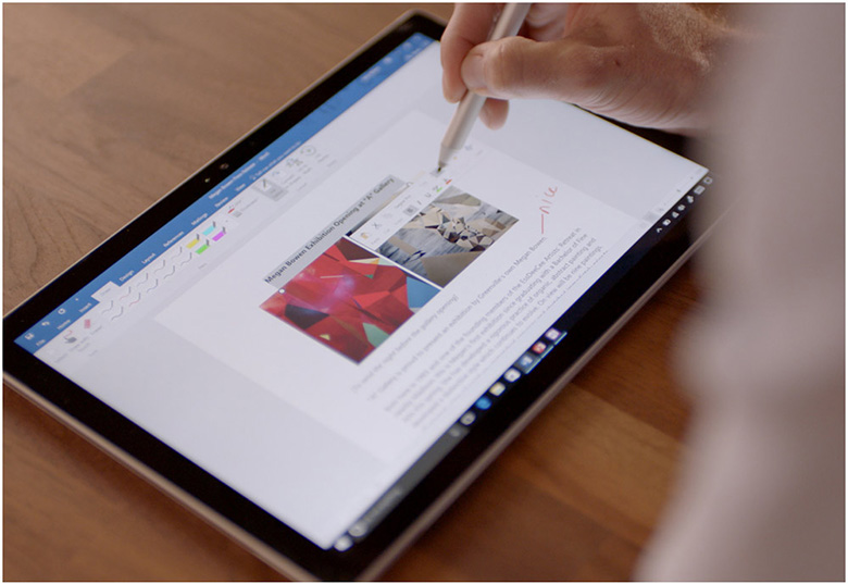 One Surface Pro 4 device in tablet mode, featuring inking in Word