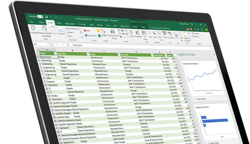 A device showing an Excel spreadsheet with the Insights pane on the right