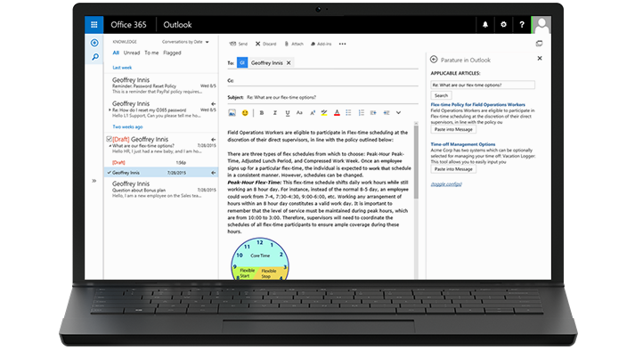 A laptop displaying Employee Self-Service's knowledge features integrated into Outlook.