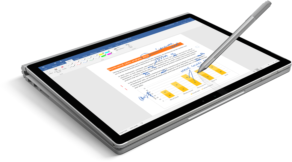 A tablet displaying a document with a pen inking on the screen, learn about Office mobile apps
