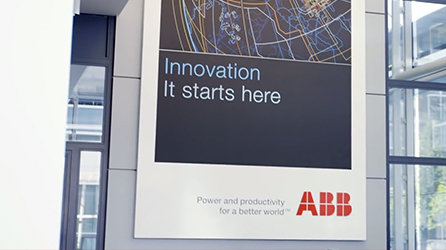 ABB logo and slogan Innovation - it starts here, read the case study about how ABB sparks innovation with Office 365