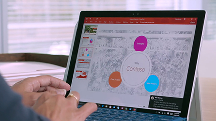 Close-up of laptop computer featuring Office 365, watch a video about Advanced Security Management with Office 365 on the Modern Workplace webcast series home page