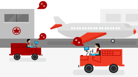 An airport with aircraft and baggage handlers, read article about how Air Canada uses Office 365 to speed processes and improve service