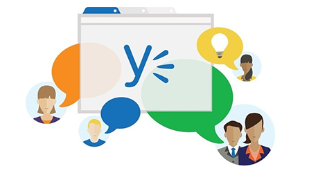 Yammer logo and people chatting, read a blog post about communication in today's world of tools