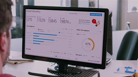 IT administrator analyzing cloud services, watch an in-page video Data's Got a New Defender about Office 365 Enterprise E5 security features
