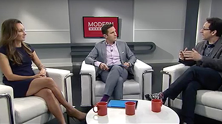 Three people discussing the latest technology trends on an episode of Modern Workplace