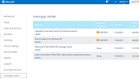 Office 365 Message Center page, learn about using the Message Center to stay informed about Office 365 services