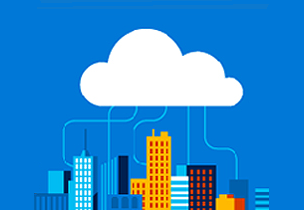 Depiction of a city networked in the cloud, learn about the Microsoft Cloud Roadshow