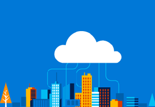 City skyline with cloud above representing cloud connections, register for the Microsoft Cloud Roadshow training event