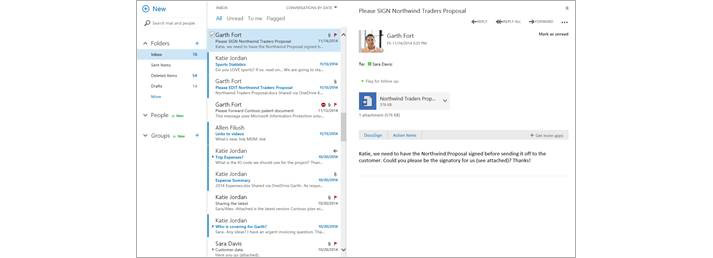 Screenshot of an Outlook inbox. Exchange Server 2016 powers the latest Outlook experiences.