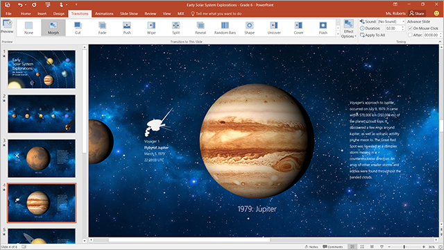 Morph screenshot, learn more about Morph in PowerPoint