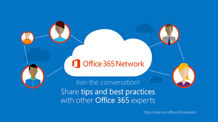 Office 365 network logo, join the discussion on the Office 365 Network on Yammer
