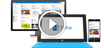 A tablet, PC monitor, and phone showing Office Delve logo and pages.