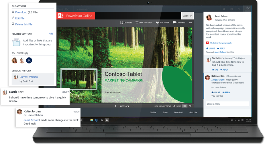A laptop displaying a presentation in PowerPoint Online with a Yammer conversation in the same screen