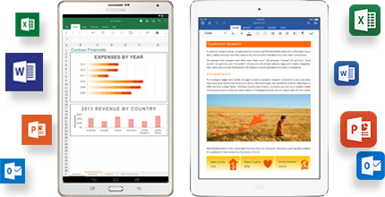Image of two tablets showing Office 365 in use.