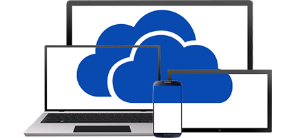 Image of two clouds placed over a PC monitor, laptop, tablet, and phone.