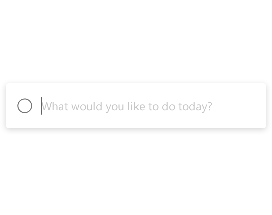 "A ""what would you like to do today"" search box"