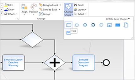 Close-up of the ribbon on a Visio diagram, where you can easily access tasks.