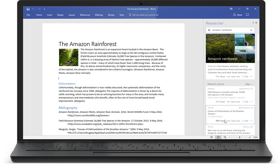 A laptop displaying a Word document about the Amazon Rainforest with Researcher appearing on the screen, learn more about Word Researcher