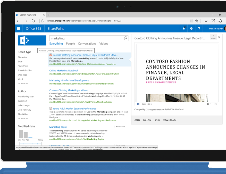 A Surface laptop showing full-text intranet search enabled by SharePoint